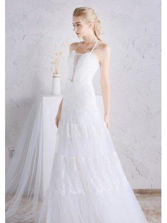 Unique Long Halter Lace A-line Beach Boho Wedding Dress
