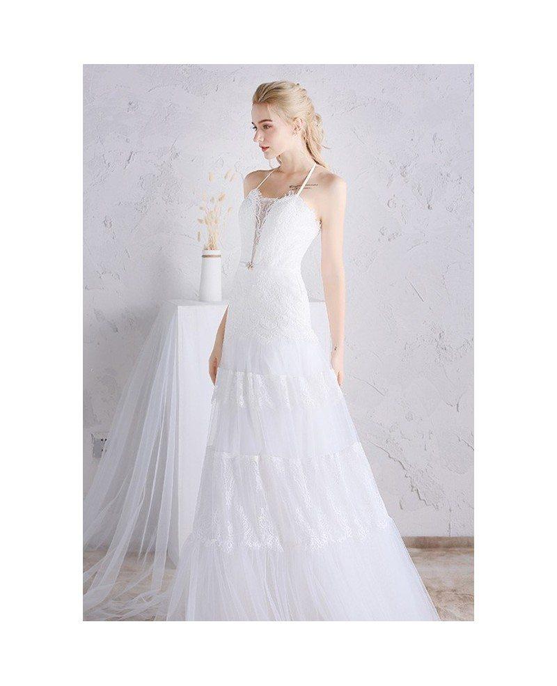 Unique long halter lace a line beach boho wedding dress for Halter wedding dresses beach