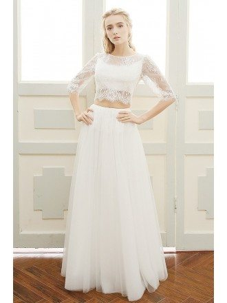Trendy Two-piece Lace Half Sleeves Boho Beach Wedding Dress Backless