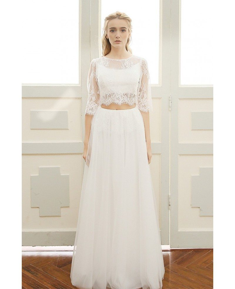Trendy Boho Beach Wedding Dress Two Piece Lace Half Sleeves Backless ...