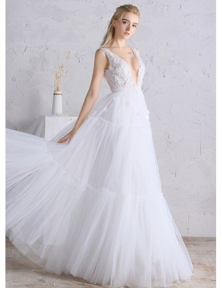 Grace Love Y Deep V Neck A Line Long Tulle Boho Beach Wedding Dress Open Back