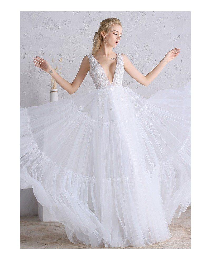 Sexy deep v neck a line long tulle boho beach wedding for Deep v back wedding dress
