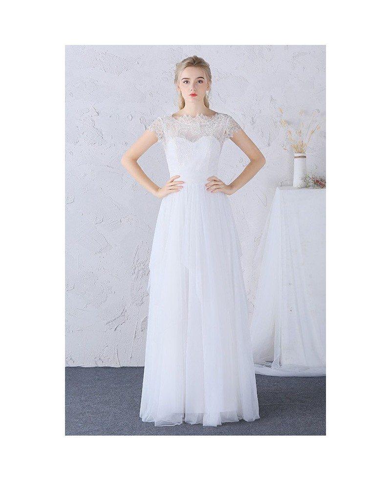 Modest boho beach wedding dress high lace neckline long for Wedding dresses cap sleeves lace