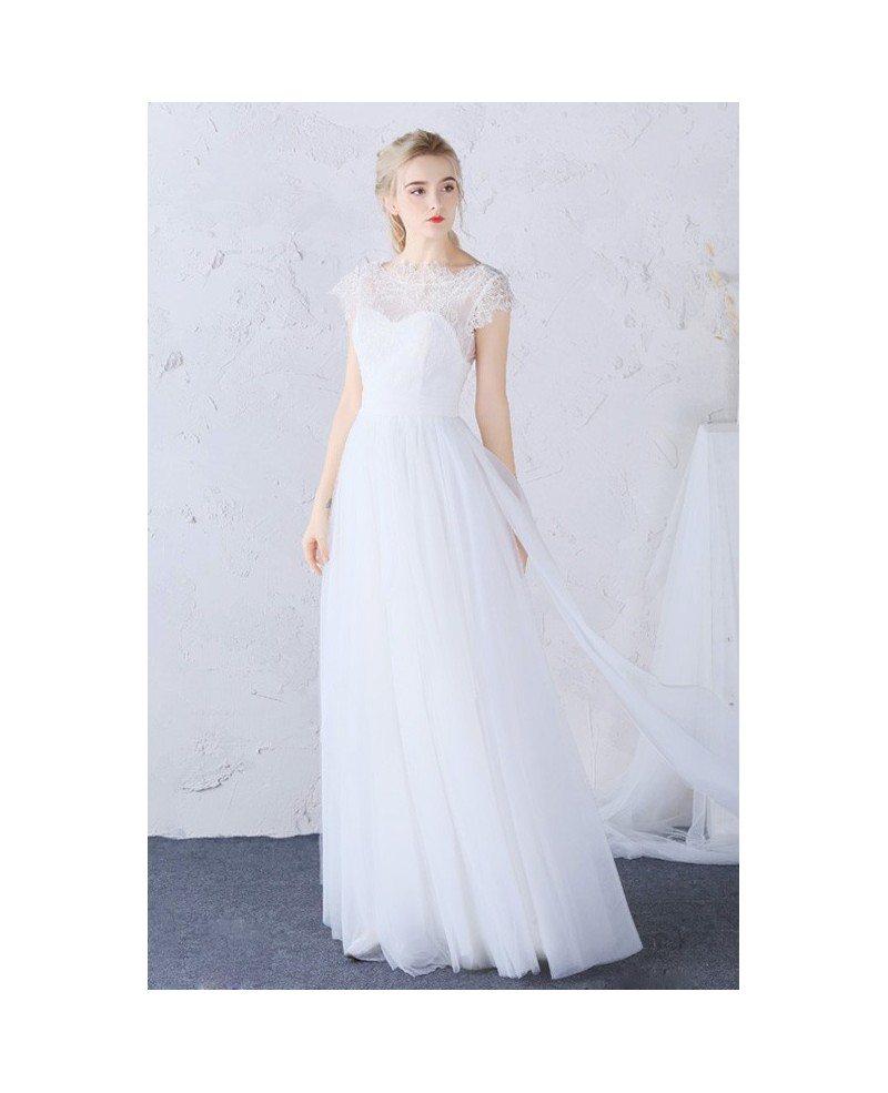 Modest Boho Beach Wedding Dress High Lace Neckline Long Tulle Cap ...