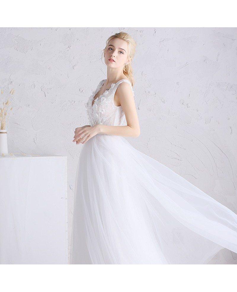 beaded floral v neck white tulle boho beach wedding dress