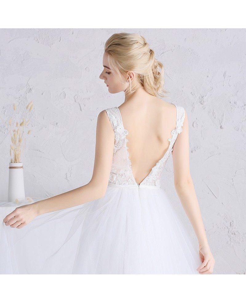 Beaded floral v neck white tulle boho beach wedding dress for White tulle wedding dress