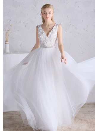 Beaded Floral V-neck White Tulle Boho Beach Wedding Dress Open Back