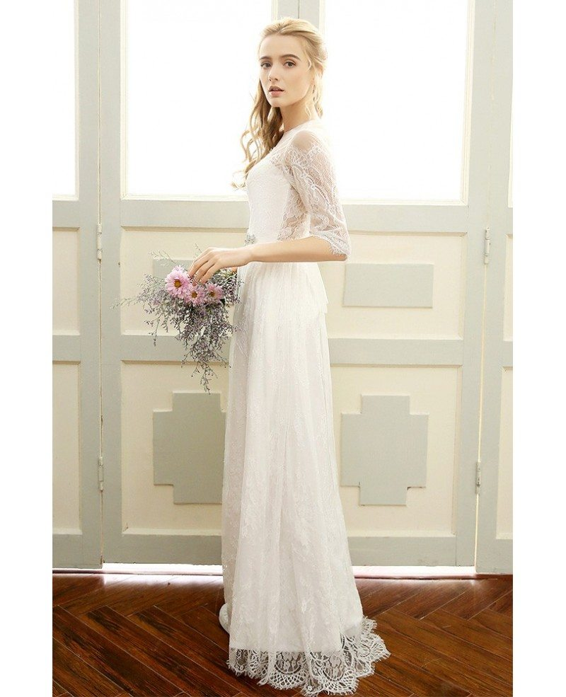 Beach Boho Wedding Dress with Half Sleeves Illusion High Neck Beaded ...