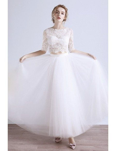 2017 Boho Beach Wedding Dress Tulle Two-piece with Lace Half Sleeves ...