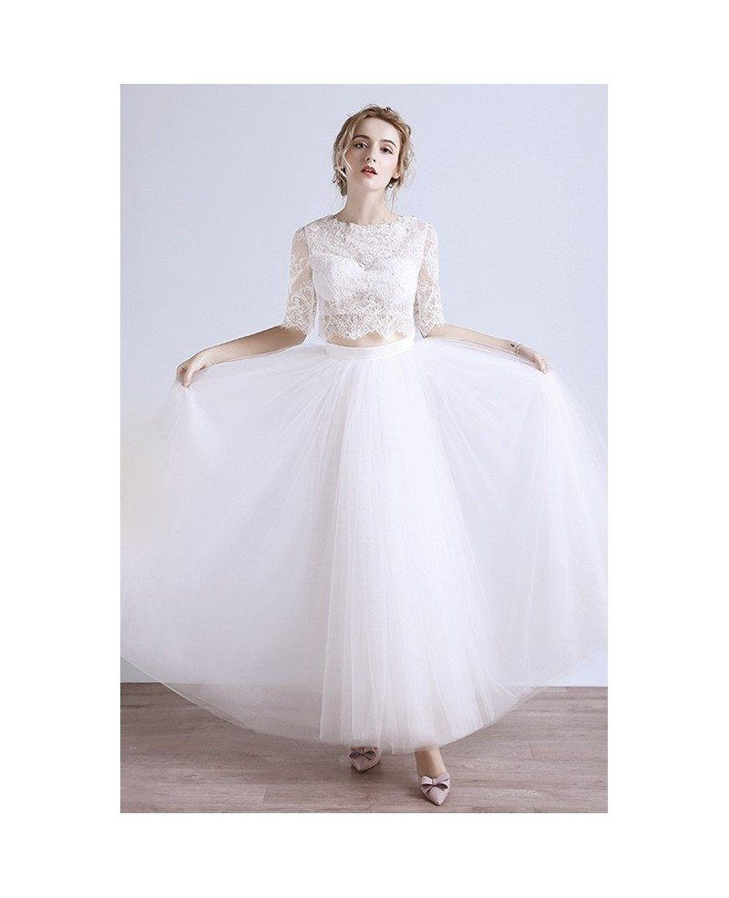 2017 boho beach wedding dress tulle two piece with lace for Wedding dresses with half sleeves