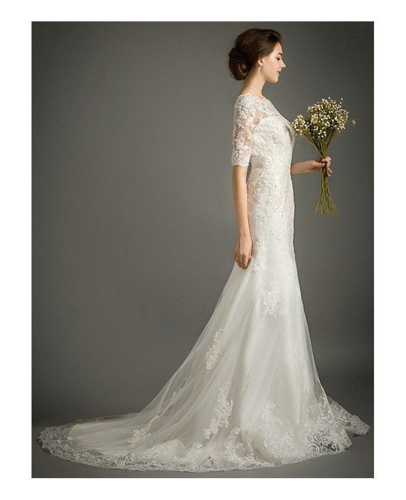 Feminine mermaid high neck sweep train tulle wedding dress for Wedding dress lace train