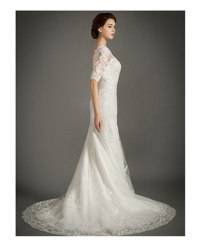 Feminine mermaid high neck sweep train tulle wedding dress for Tulle lace wedding dress