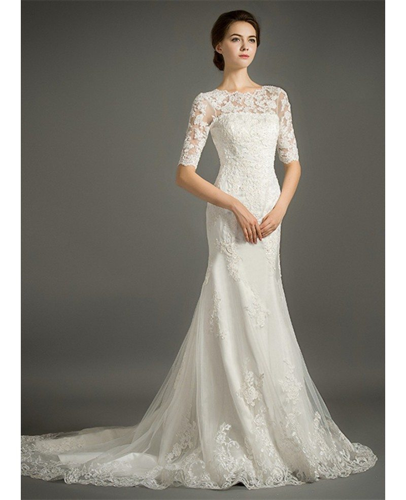 Feminine mermaid high neck sweep train tulle wedding dress for Where to get a wedding dress