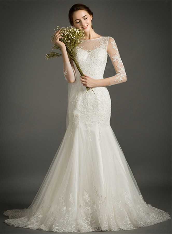 Feminine mermaid high neck court train tulle wedding dress for 300 dollar wedding dress