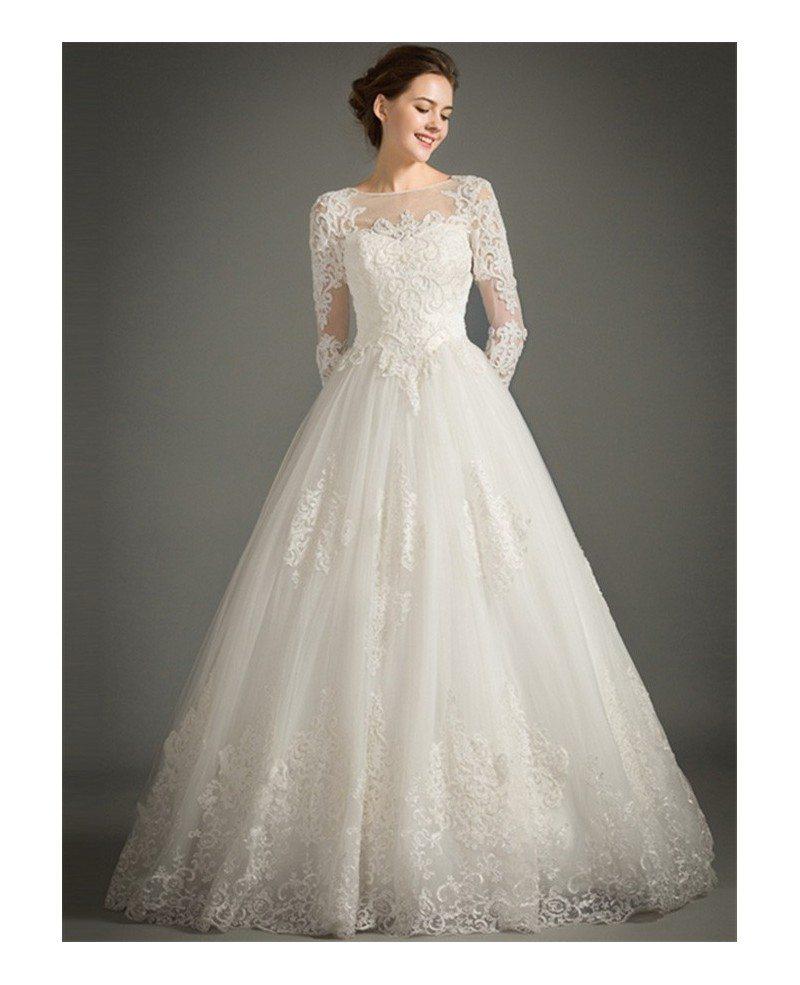 Classic A-Line High-neck Floor-length Tulle Wedding Dress