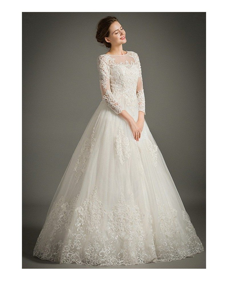 Classic a line high neck floor length tulle wedding dress for A line tulle wedding dress