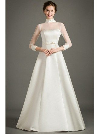 Modest A-Line High-neck Floor-length Satin Wedding Dress With Half Sleeves