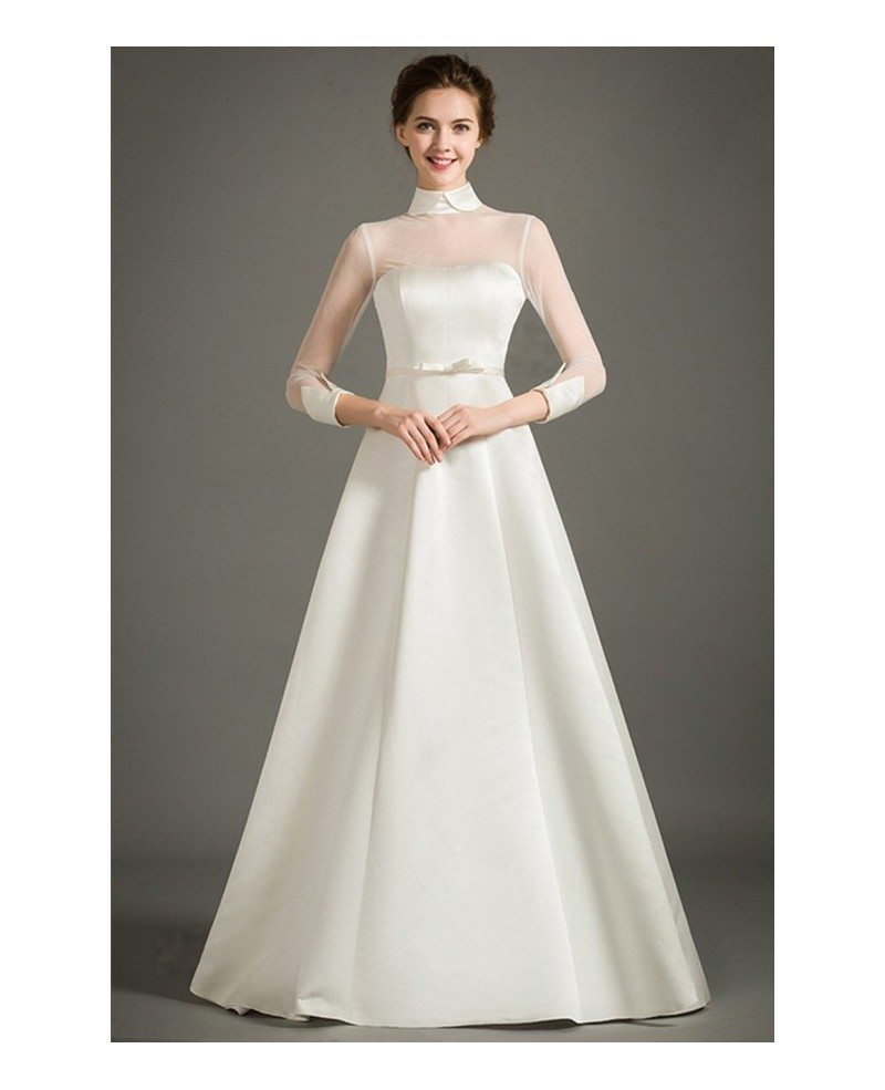 Modest a line high neck floor length satin wedding dress for Wedding dresses with half sleeves