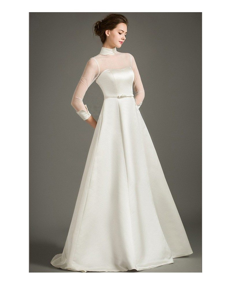 Modest a line high neck floor length satin wedding dress for Modest a line wedding dresses