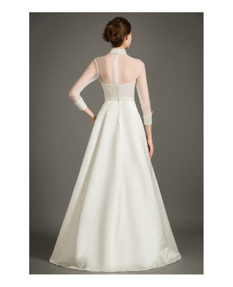 Modest A-Line High-neck Floor-length Satin Wedding Dress