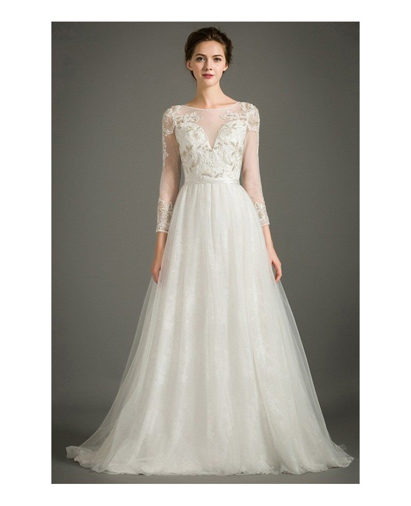 Special a line high neck sweep train tulle wedding dress
