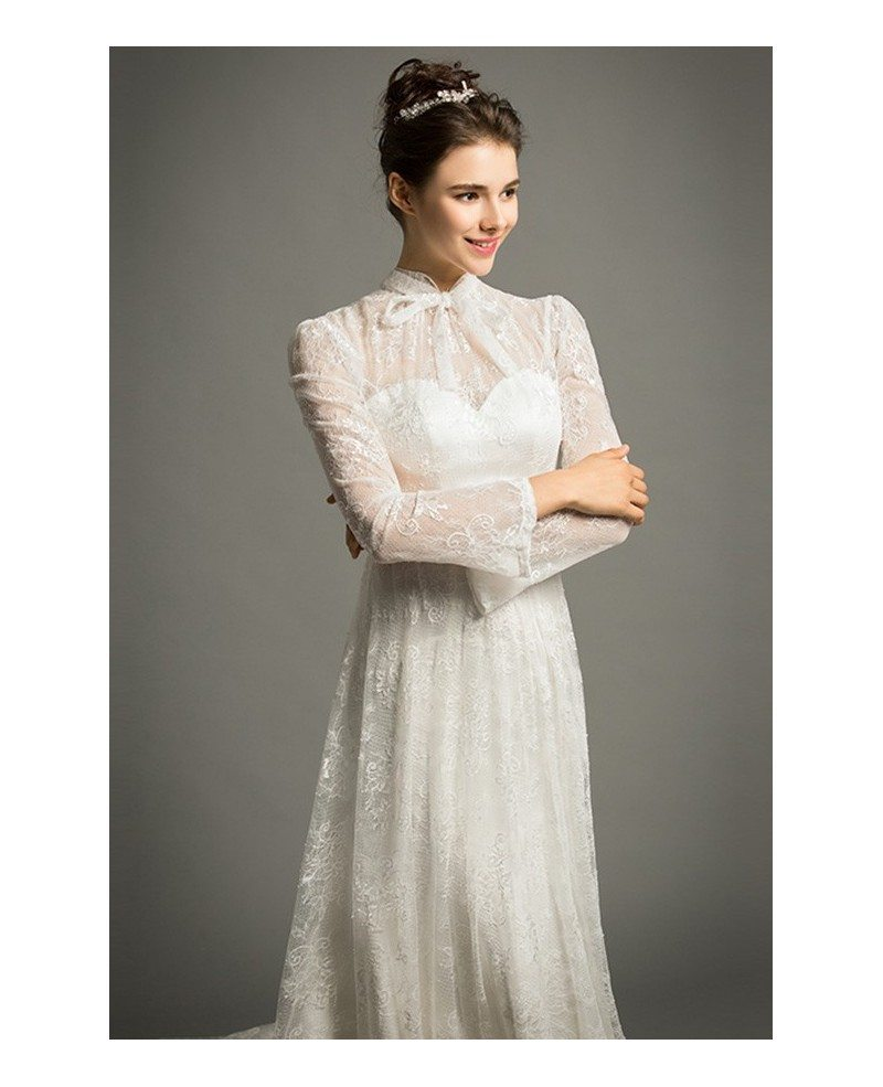 Modest a line high neck cathedral train lace wedding dress for Modest a line wedding dresses