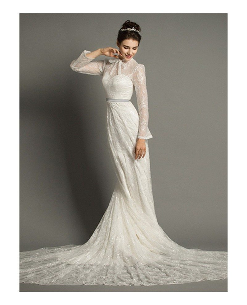 Modest a line high neck cathedral train lace wedding dress for Modest wedding dresses with long sleeves