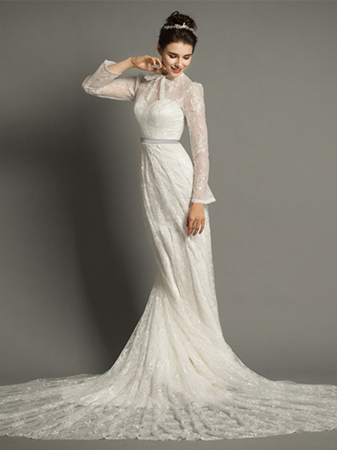 Modest A Line High Neck Cathedral Train Lace Wedding Dress