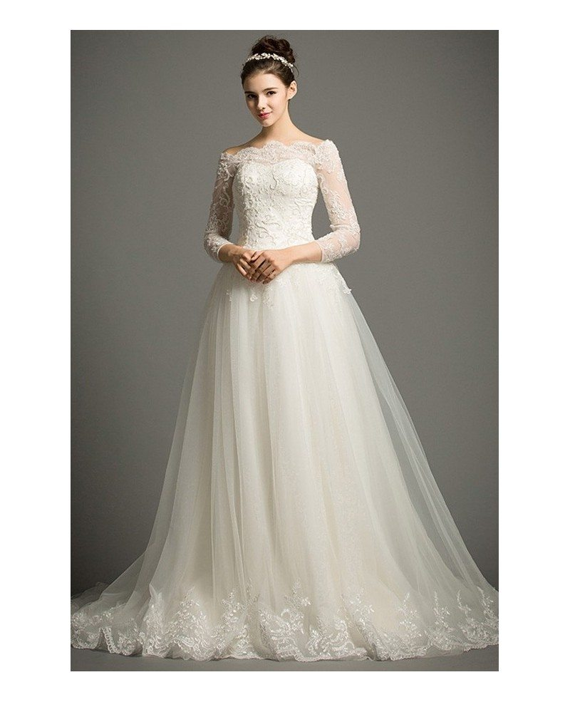 Classic Ball-gown Off-the-shoulder Cathedral Train Tulle Wedding ...
