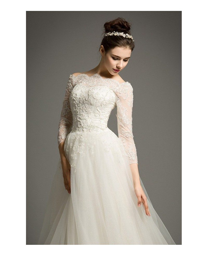 Classic ball gown off the shoulder cathedral train tulle for Tulle wedding dress with sleeves