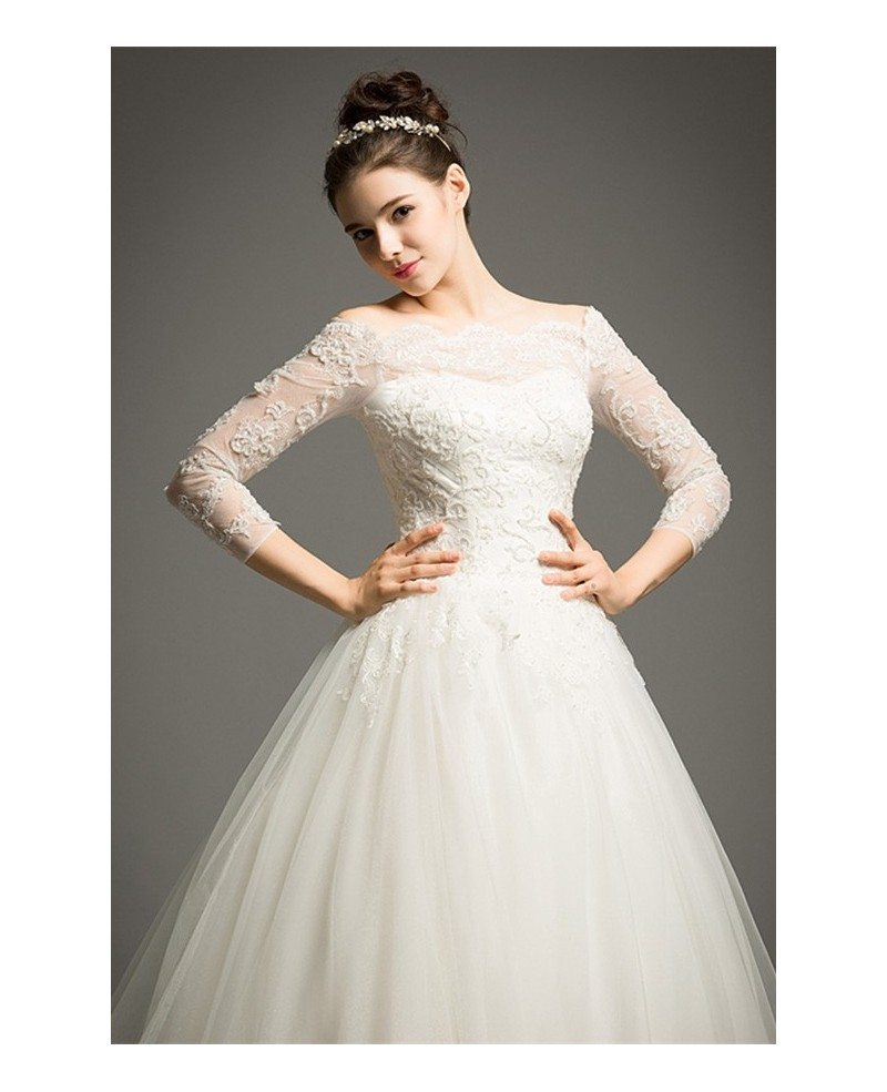 Classic Ball-gown Off-the-shoulder Cathedral Train Tulle ...