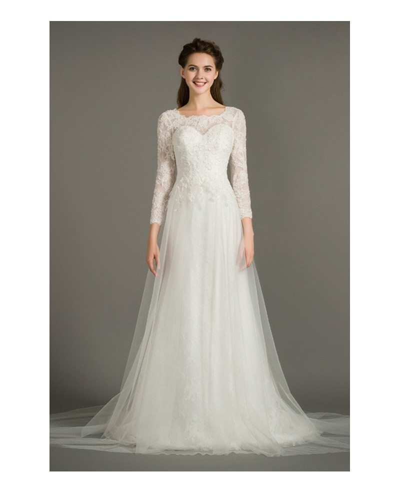 Modest a line scoop neck sweep train tulle wedding dress for Modest a line wedding dresses