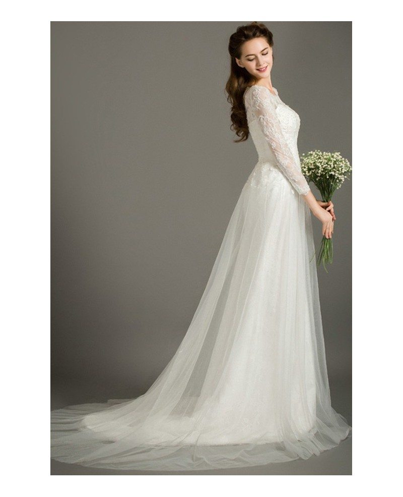Simple Design Scoop Neck Long Sleeve Long A Line Tulle: Modest A-Line Scoop Neck Sweep Train Tulle Wedding Dress