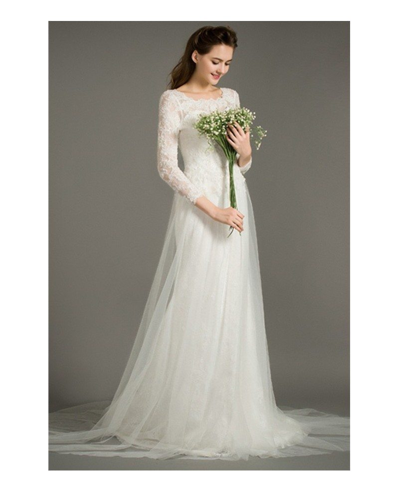 Modest a line scoop neck sweep train tulle wedding dress for Modest wedding dresses with long sleeves