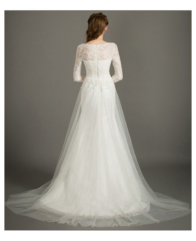 Modest a line scoop neck sweep train tulle wedding dress for Tulle a line wedding dress