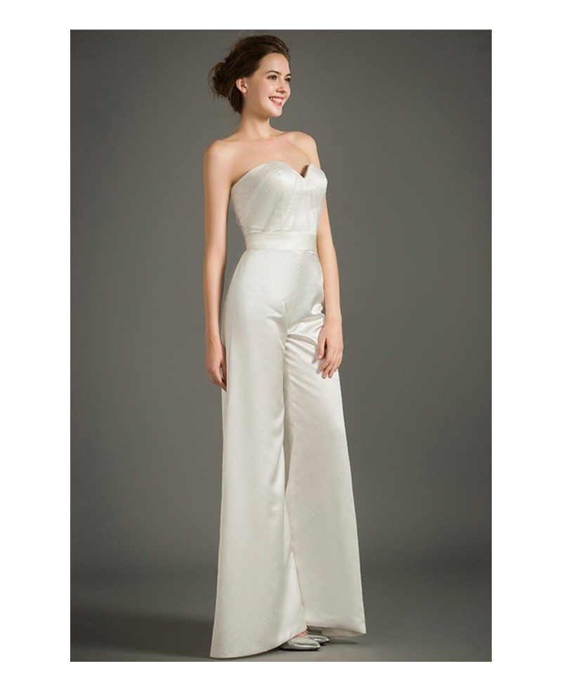 Chic Sweetheart Satin Long Jumpsuit For Mature Bride