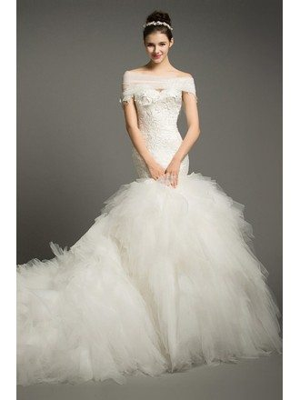Luxury Mermaid Sweetheart Cathedral Train Tulle Wedding Dress With Cascading Ruffle