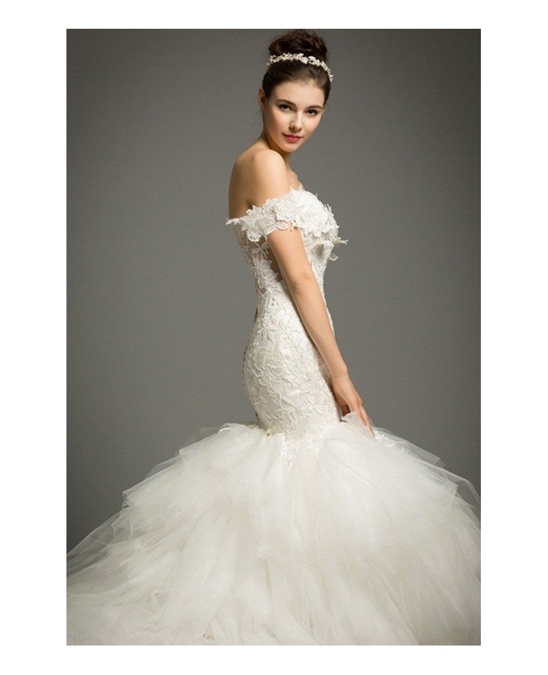 Luxury mermaid sweetheart cathedral train tulle wedding for Mermaid wedding dress with train