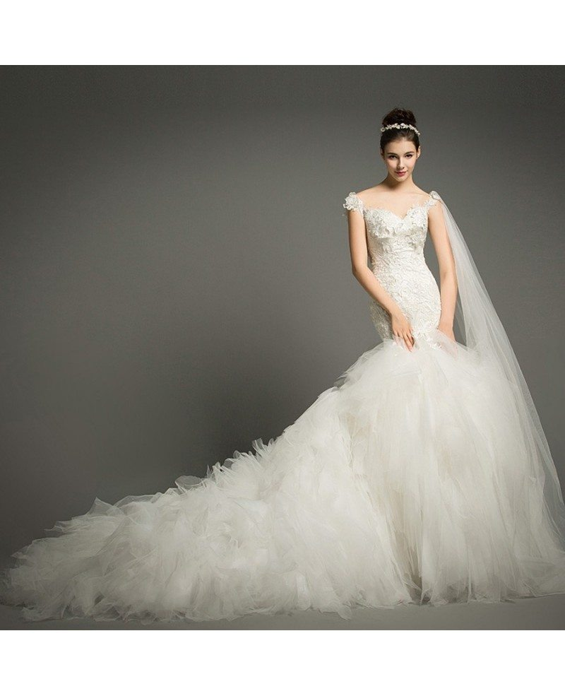 Cathedral Wedding Gowns: Luxury Mermaid Sweetheart Cathedral Train Tulle Wedding