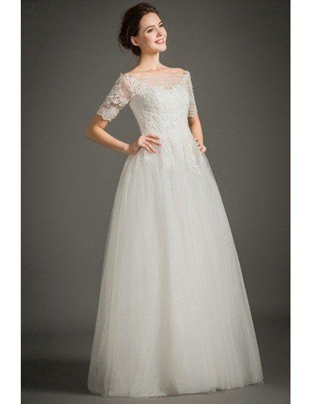 Modest a line off the shoulder floor length lace tulle for Off the shoulder tulle wedding dress