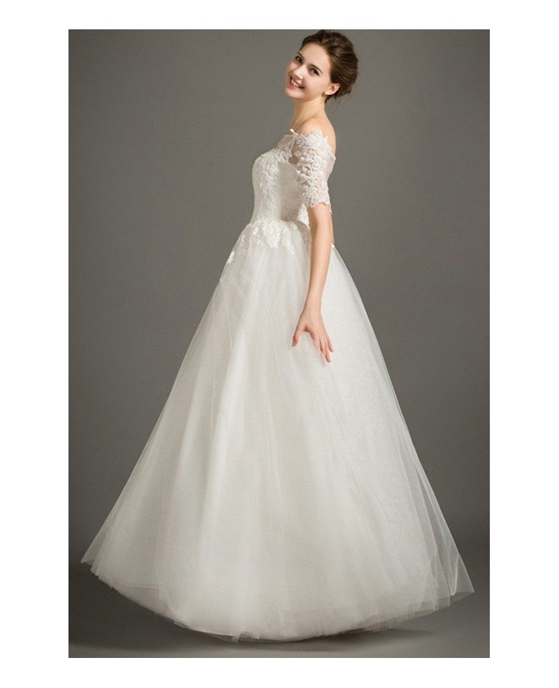 Modest a line off the shoulder floor length lace tulle for Modest a line wedding dresses
