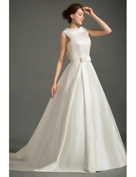 Classic ball gown high neck court train satin wedding dress with gem classic ball gown high neck court train satin wedding dress with open back junglespirit Image collections
