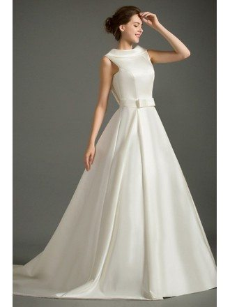 Classic Ball-gown High-neck Court Train Satin Wedding Dress With Open Back