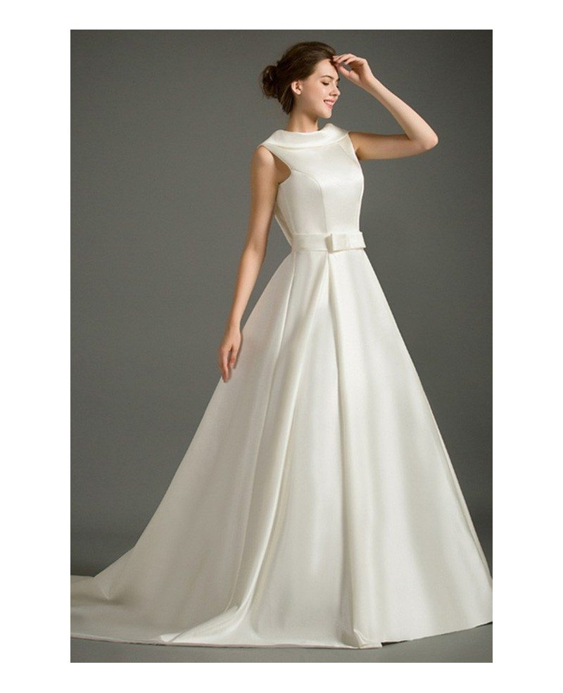 Classic Ball-gown High-neck Court Train Satin Wedding Dress With ...