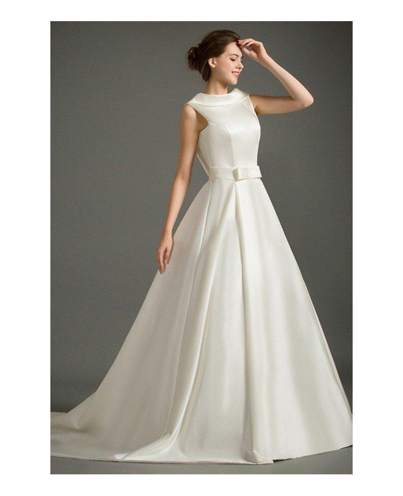 Classic Ball-gown High-neck Court Train Satin Wedding