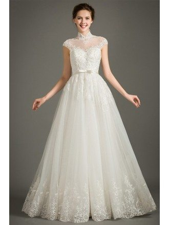 Modest A-Line High-neck Floor-length Lace Tulle Wedding Dress With Cap Sleeves