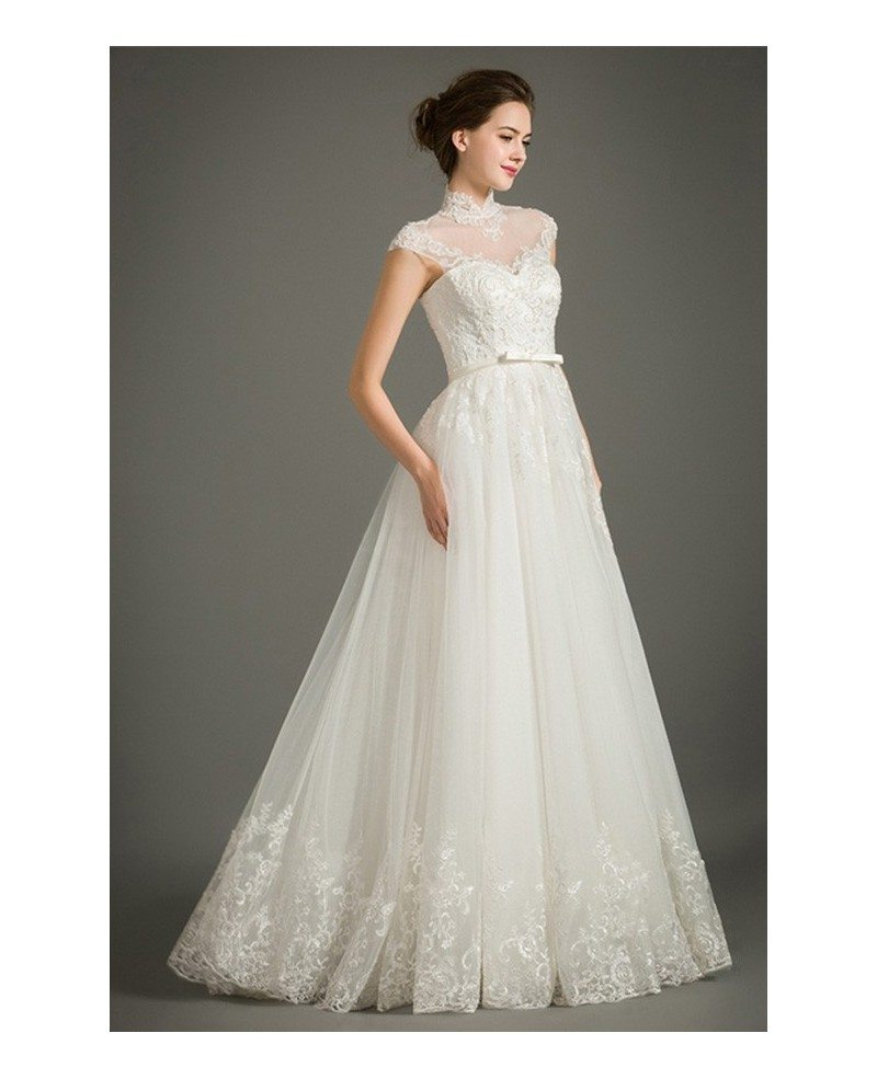 Modest a line lace wedding dress with cap sleeves high for Tulle wedding dress with sleeves