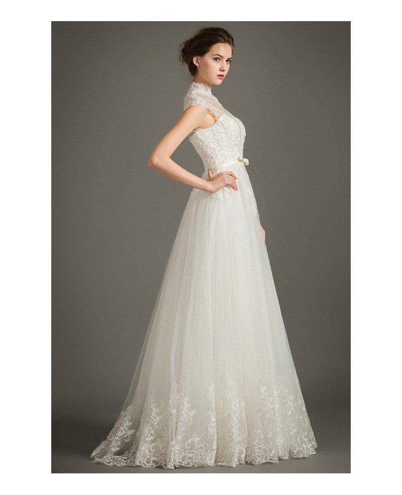 Modest a line lace wedding dress with cap sleeves high for Modest a line wedding dresses