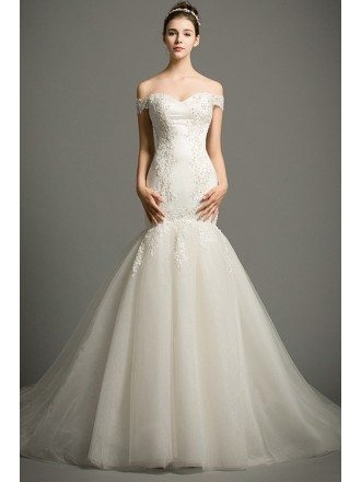 Sexy Mermaid Off-the-Shoulder Chapel Train Satin Tulle Wedding Dress With Appliques Lace