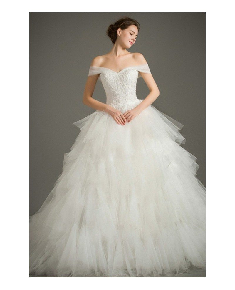 Dreamy Ball-gown Off-the-Shoulder Chapel Train Tulle Wedding Dress ...